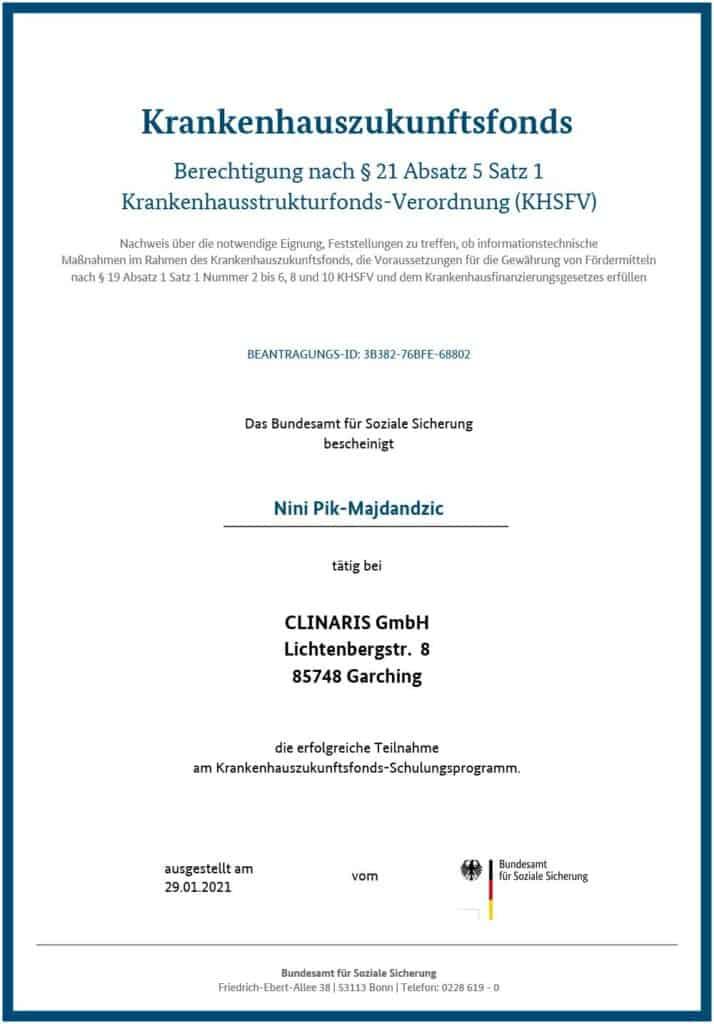 Berechtigt für KHZ-Fond-Beratung: Nini Pik-Majdandzic