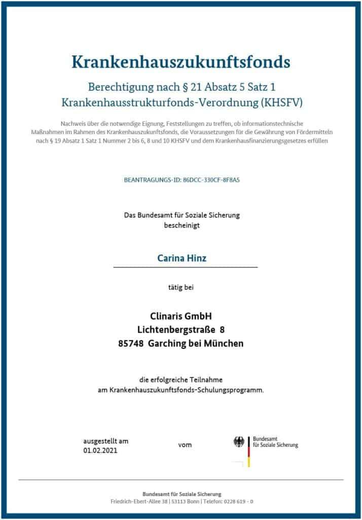 Berechtigt für KHZ-Fond-Beratung: Carina Hinz